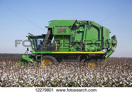 Stock Photography of Onboard module building cotton picker.