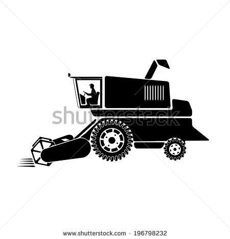 Combine Harvester On A White Background Stock Vector Illustration.