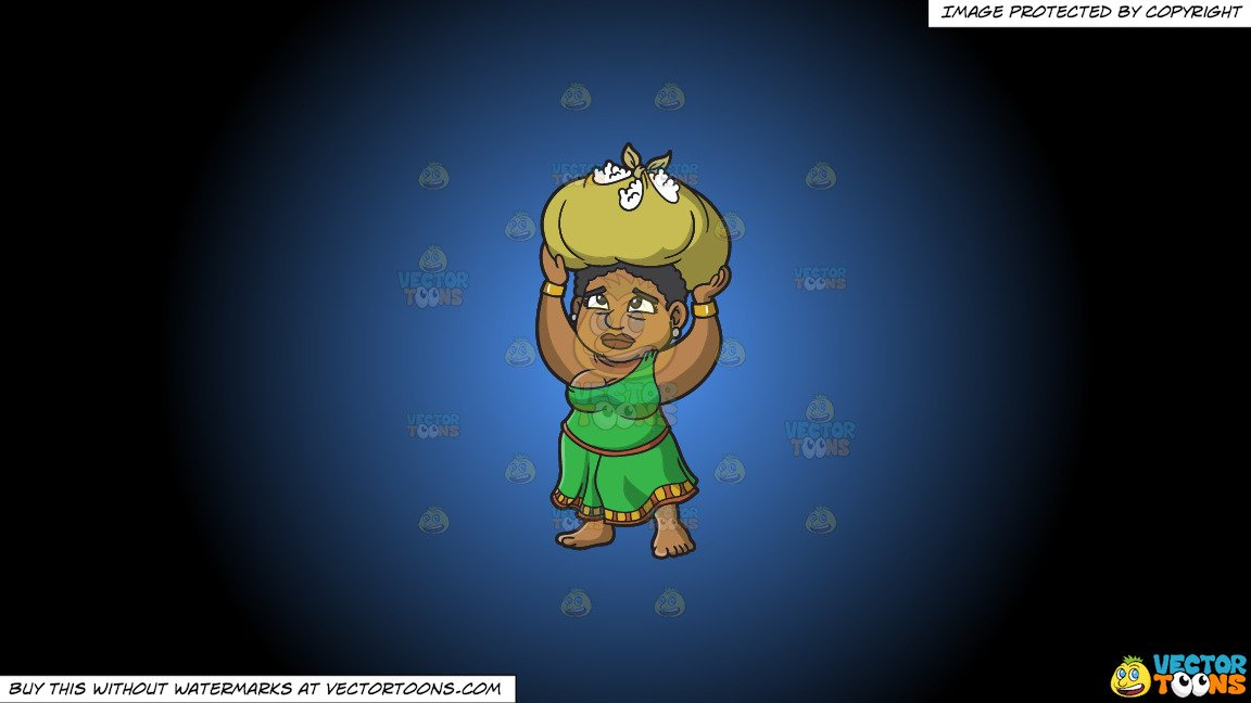 Clipart: A Female Polynesian Slave Carrying Kilos Of Cotton On Her Head on  a Blue And Black Gradient Background.