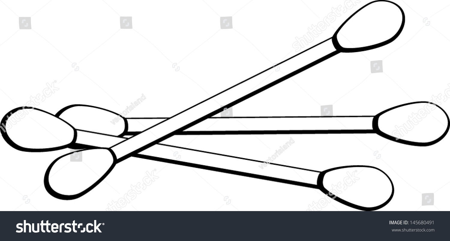 Cotton Buds Clipart Black And White.