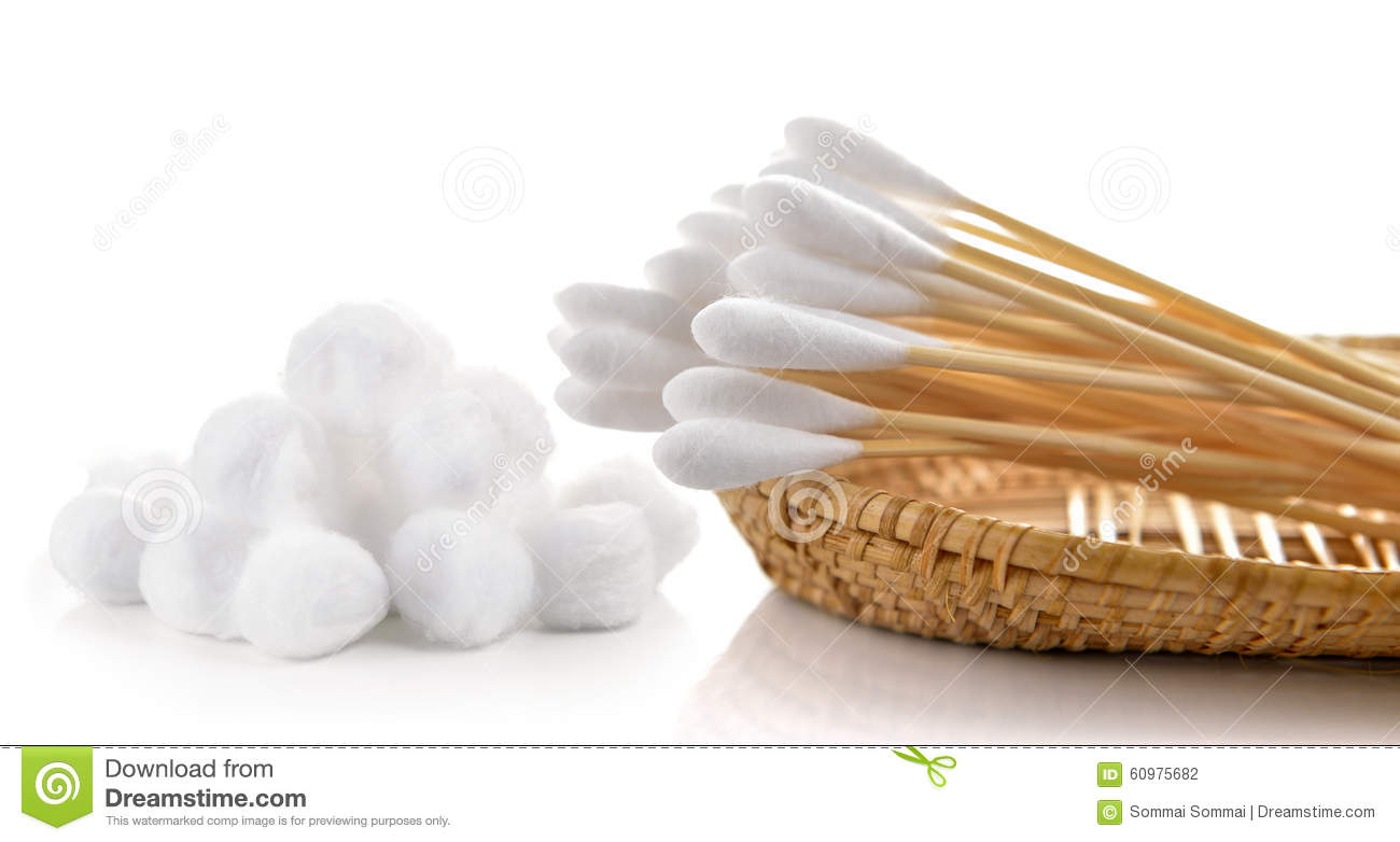 Cotton Bud And Cotton Wool In The Basket Stock Photo.