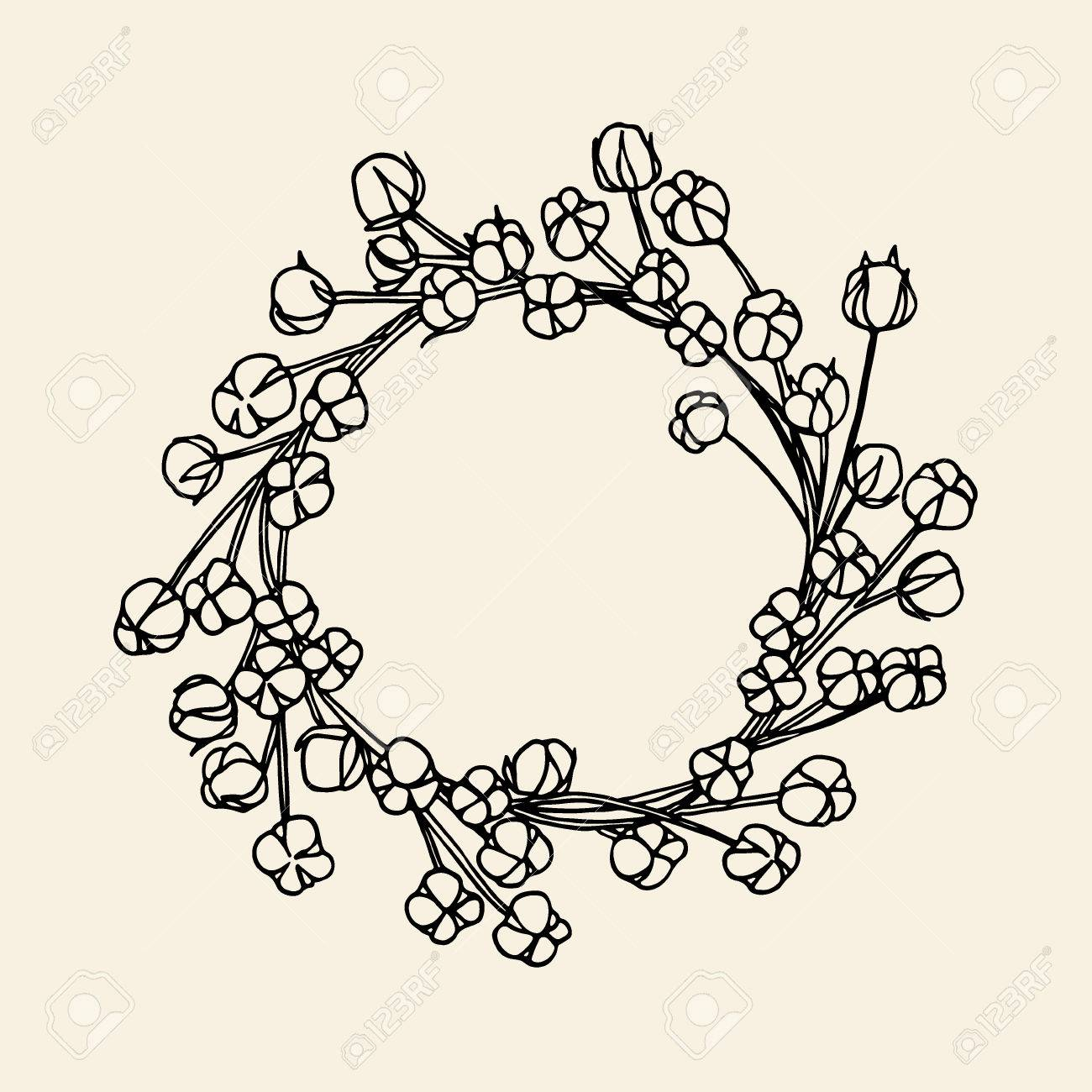 Vector hand drawn wreath of cotton flowers. Beautiful floral...