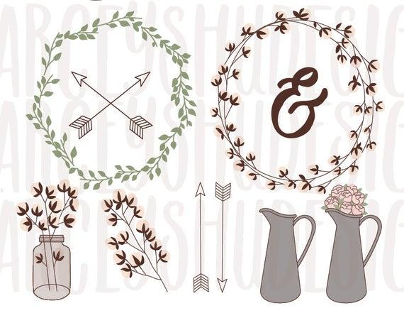 Rustic Cotton Wreath Clip Art, Cotton Clipart Set, Arrow Clip Art.