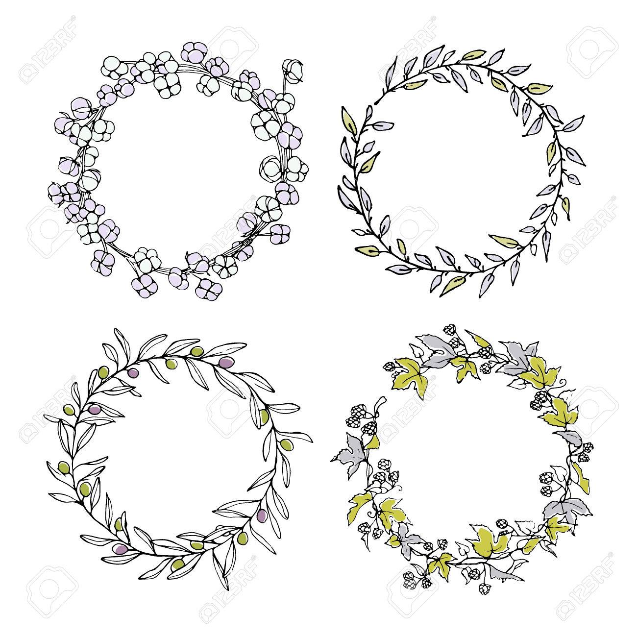 Hand drawn floral wreath set made in vector. Graceful garlands...