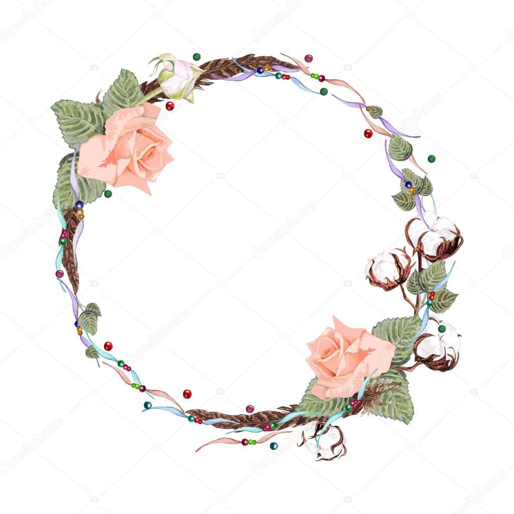 Clipart: cotton wreath.