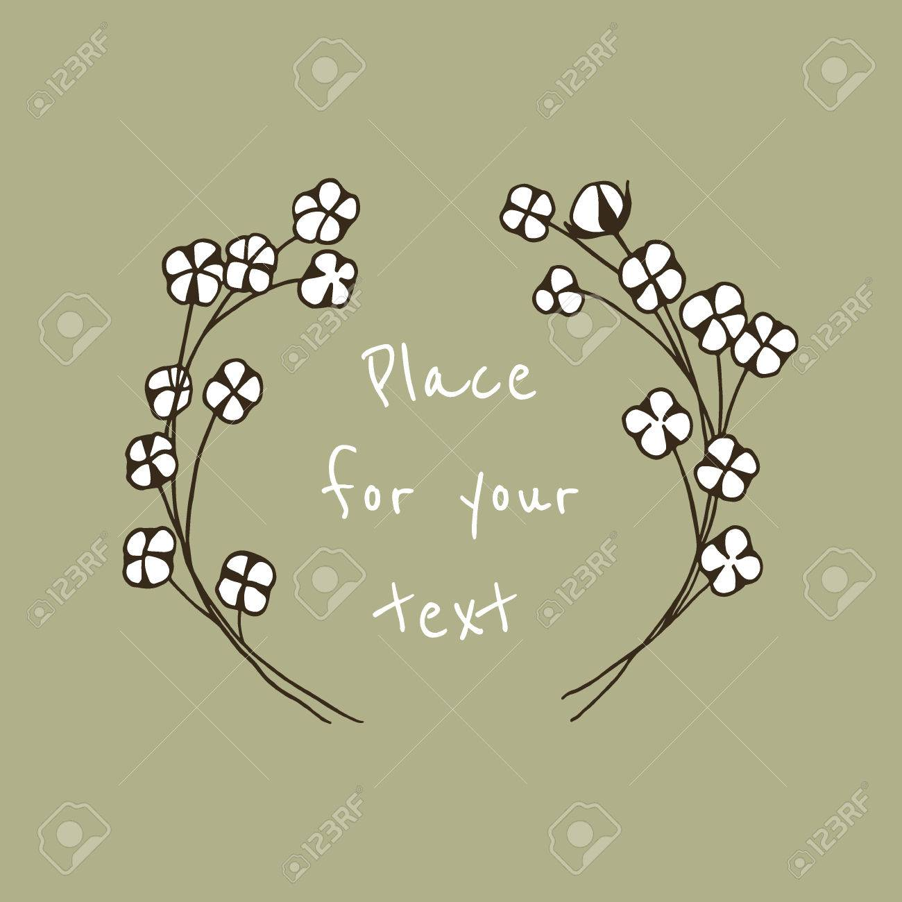 Vector illustration of hand drawn cotton wreath. Beautiful floral...