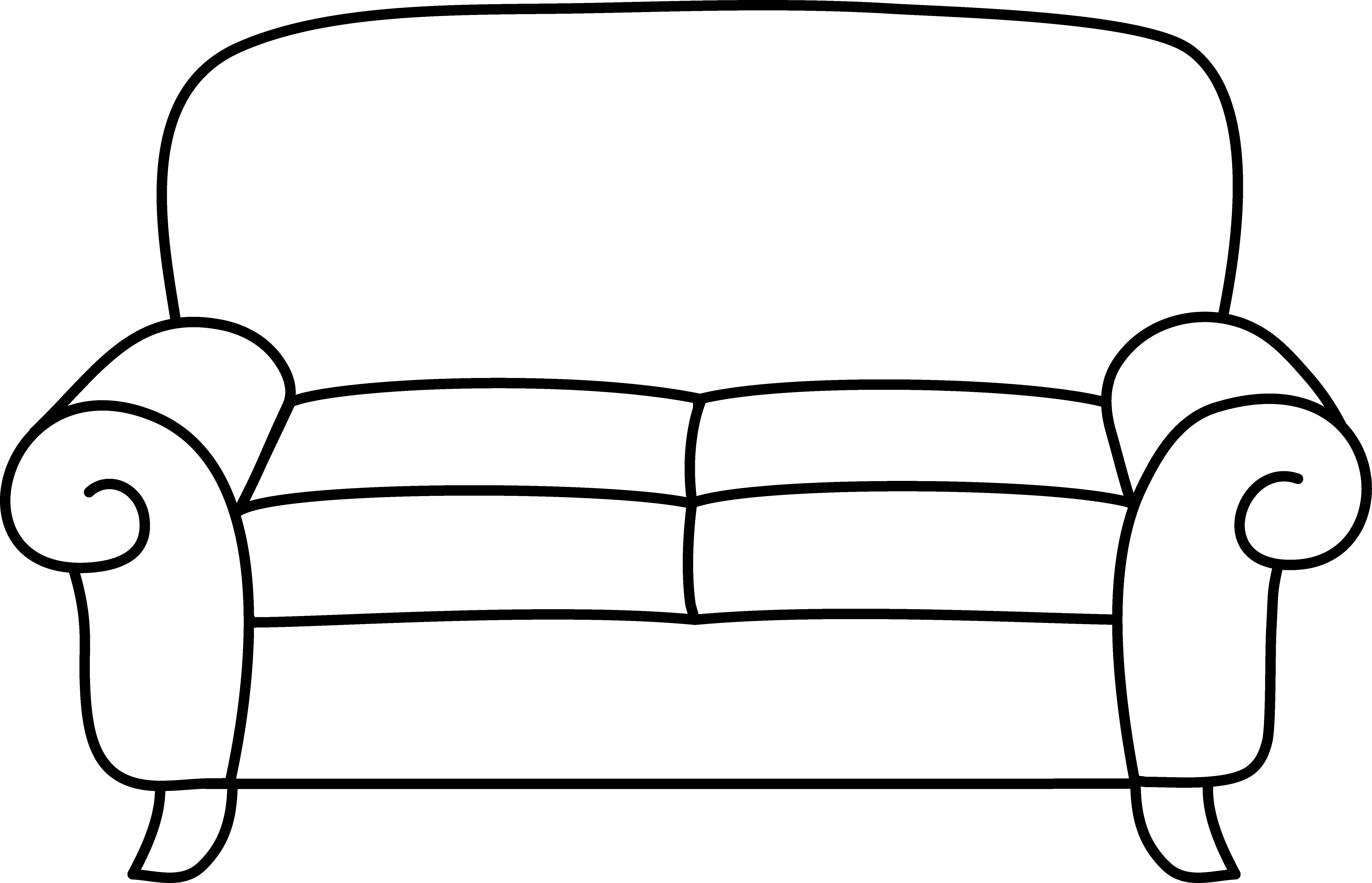 Couch clipart black and white 5 » Clipart Station.