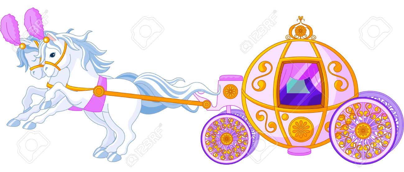 Beautiful Fairytale Pink Carriage Royalty Free Cliparts, Vectors.