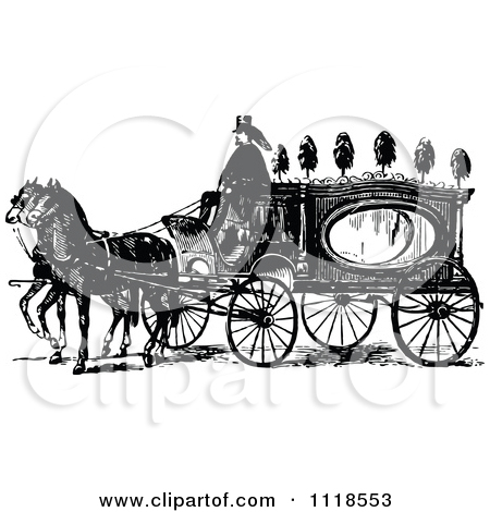 Clipart Of A Retro Vintage Black And White Horse Drawn Coach.