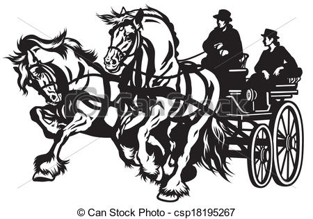 Clip Art Vector of horse carriage.