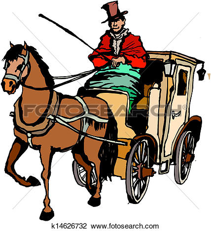 Clip Art of Horse with carriage k14626729.