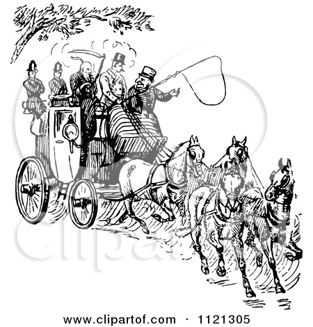 Clipart of a Retro Vintage Black and White Crowded Horse Drawn.