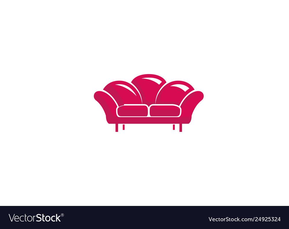 Creative furniture red sofa logo.