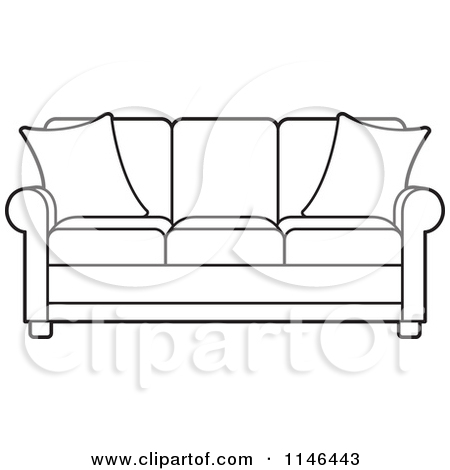 Clipart of a Purple Sofa.
