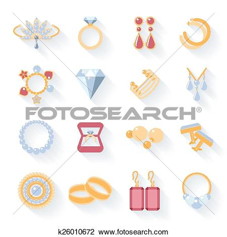 Clipart of Earrings, rings, cufflinks and necklaces flat icons.
