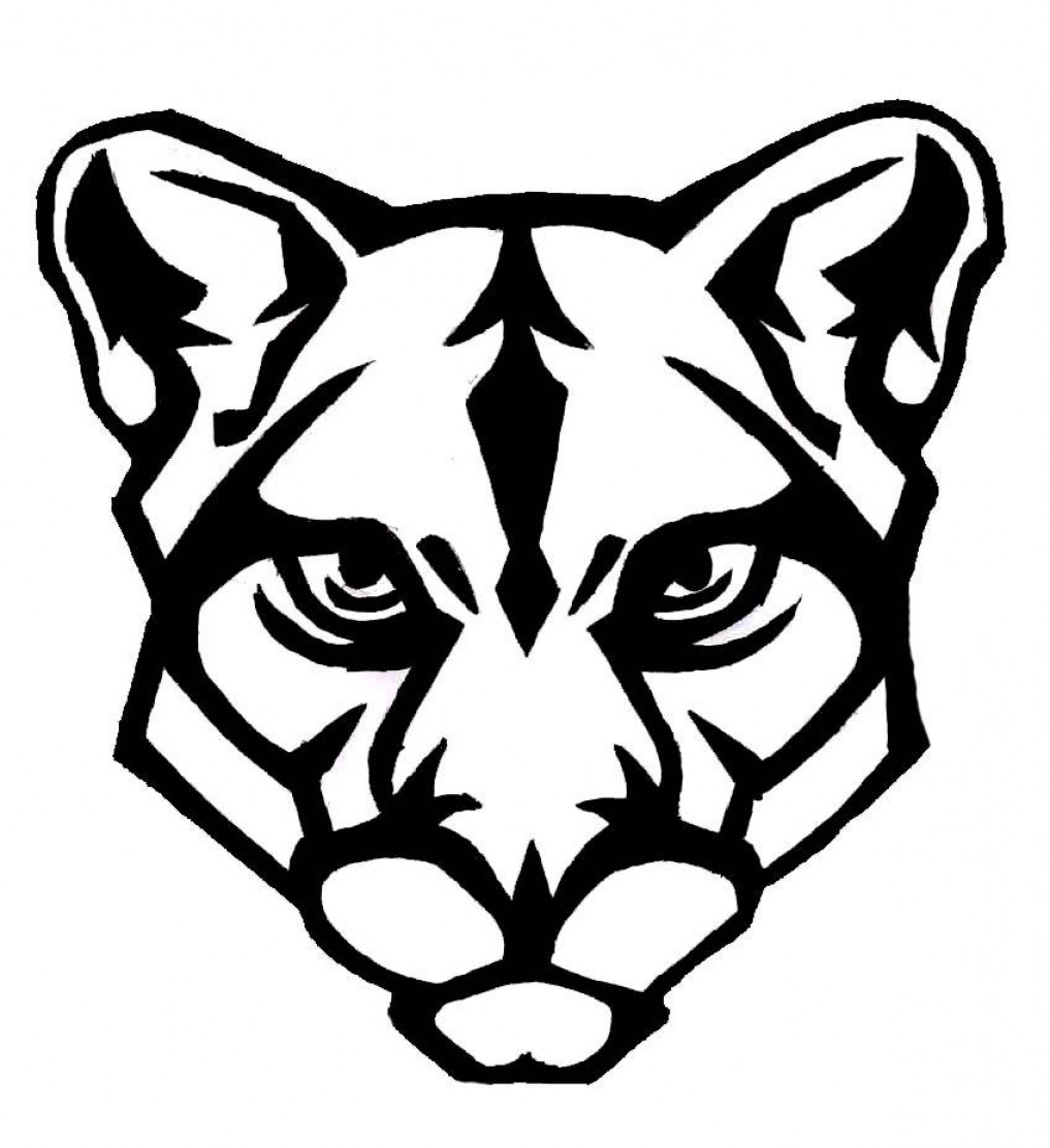 Cougar Face Line Drawing : Cougar face clipart clipground