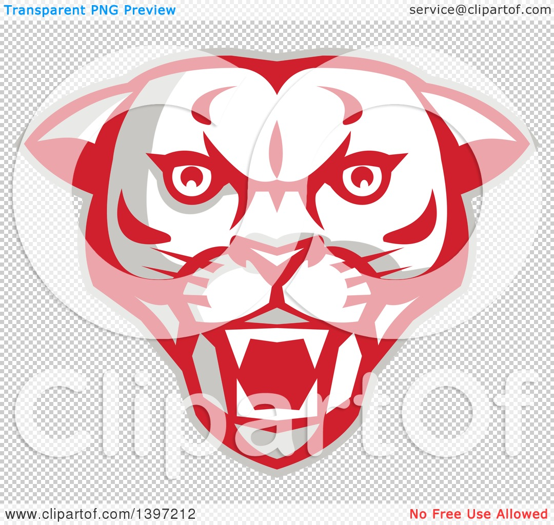 Clipart of a Retro Fierce Mountain Lion Puma Cougar Face.