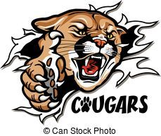cougars mascot ripping through the background for school.