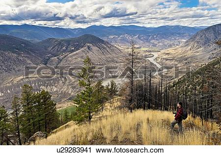 Stock Photography of Man views, Fraser River canyon from Cougar.