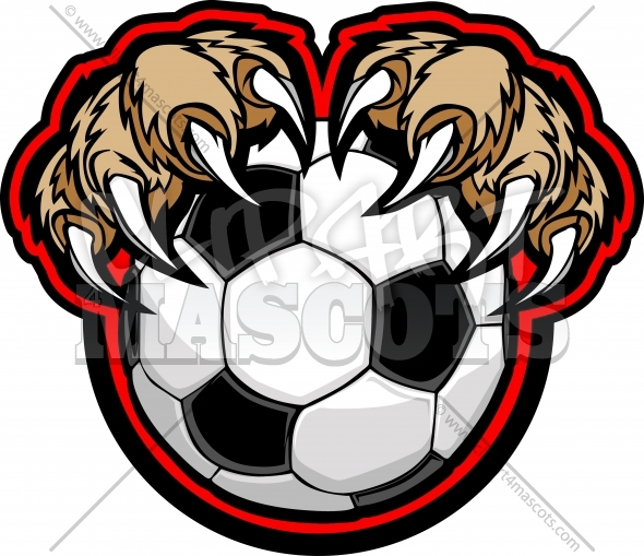 Cougar Claw Soccer Graphic Vector Cartoon.