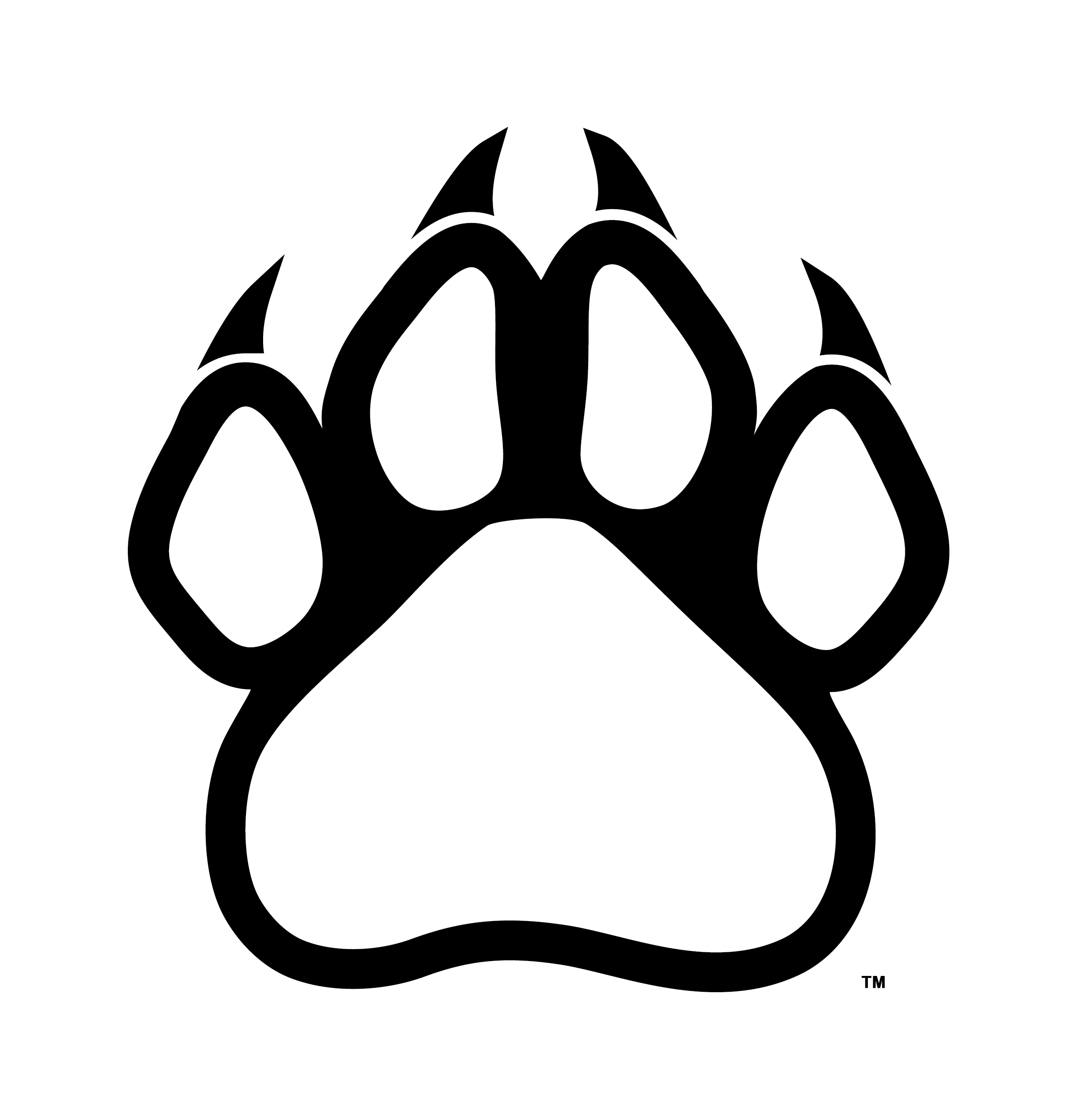 Cougar paw print clipart.