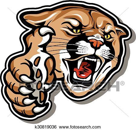 Cougar mascot Clip Art.