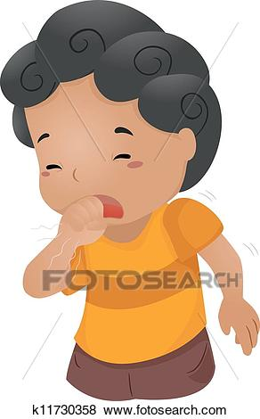 Coughing Kid Clip Art.