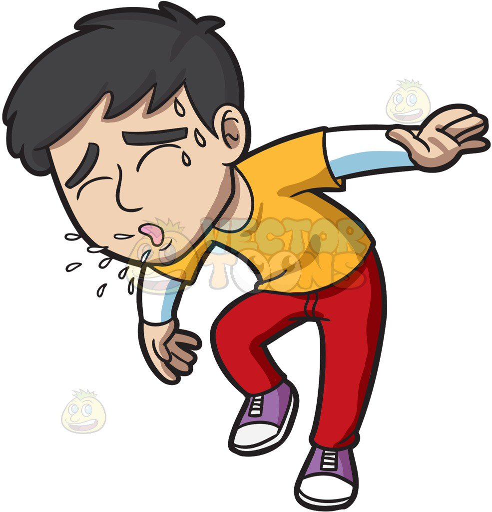 Coughing Person Clipart.