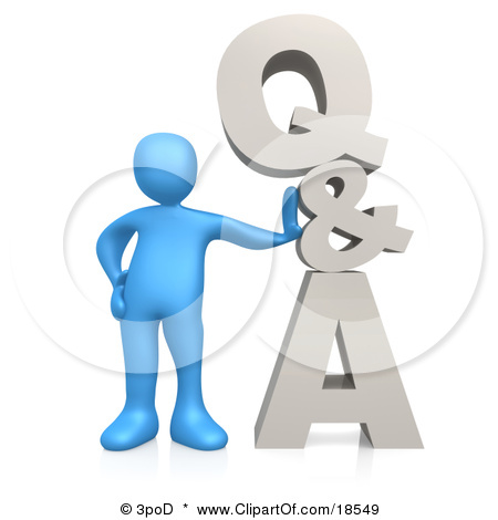 Clipart Illustration of a Blue Person Leaning Against Q&A, Which.