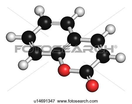 Picture of Coumarin herbal molecule, illustration u14691347.