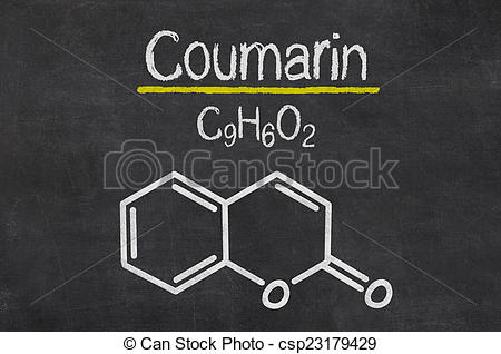 Clip Art of Blackboard with the chemical formula of Coumarin.