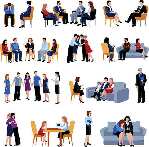 Problematic Families Counseling Flat Icons Set Vector Art Illu.