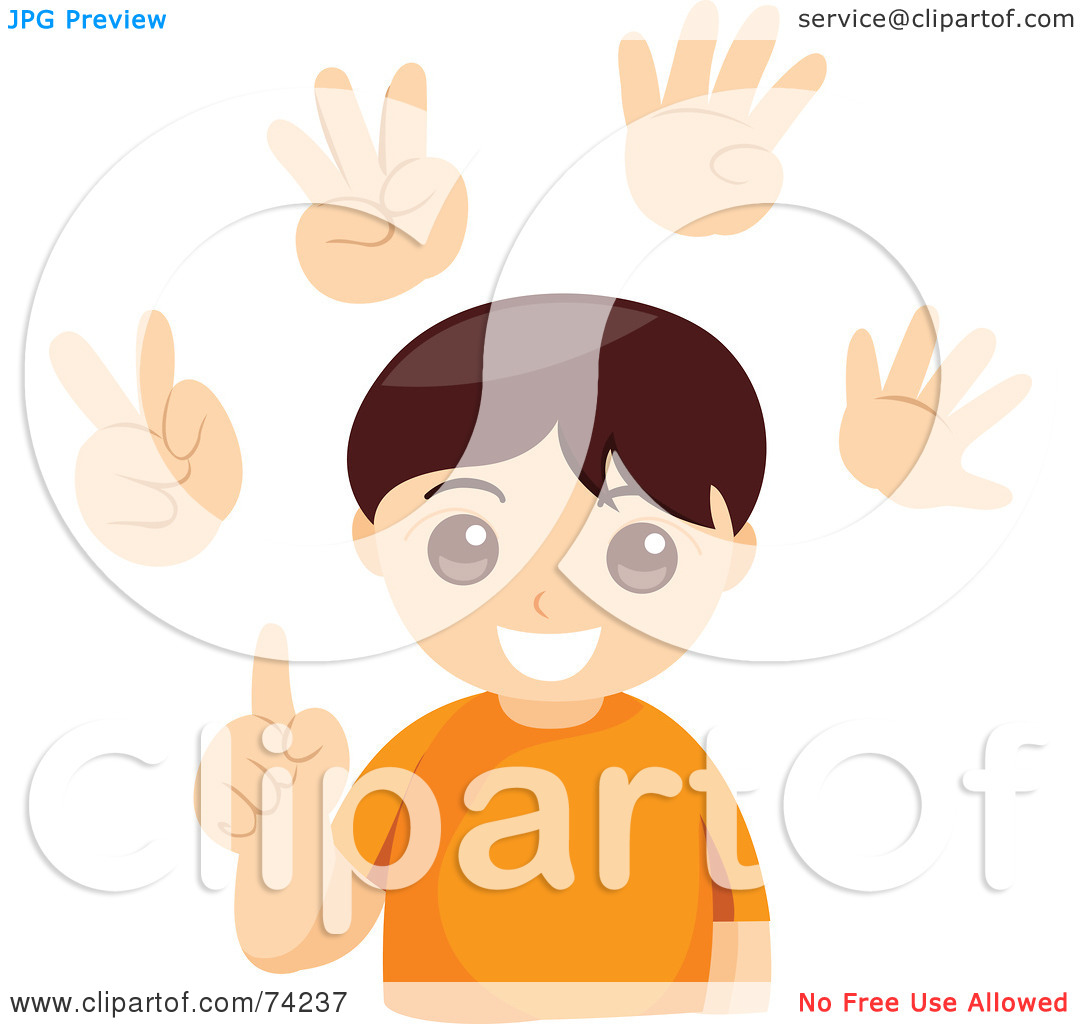 Boy counting clipart.