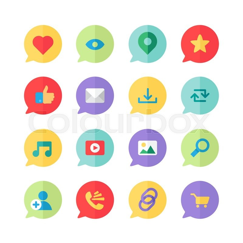 Web Icons for blog and social networks, online shopping and email.