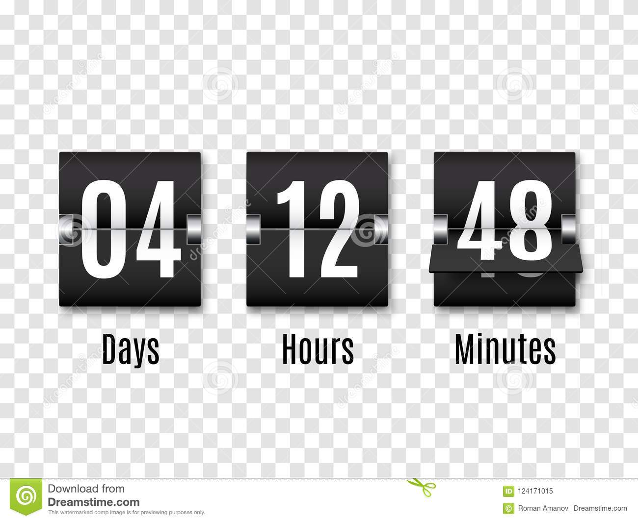 Black Countdown Timer With White Numbers Isolated On Transparent.
