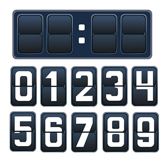 Vector Illustration Of A Countdown Timer, Mechanical Scoreboard.