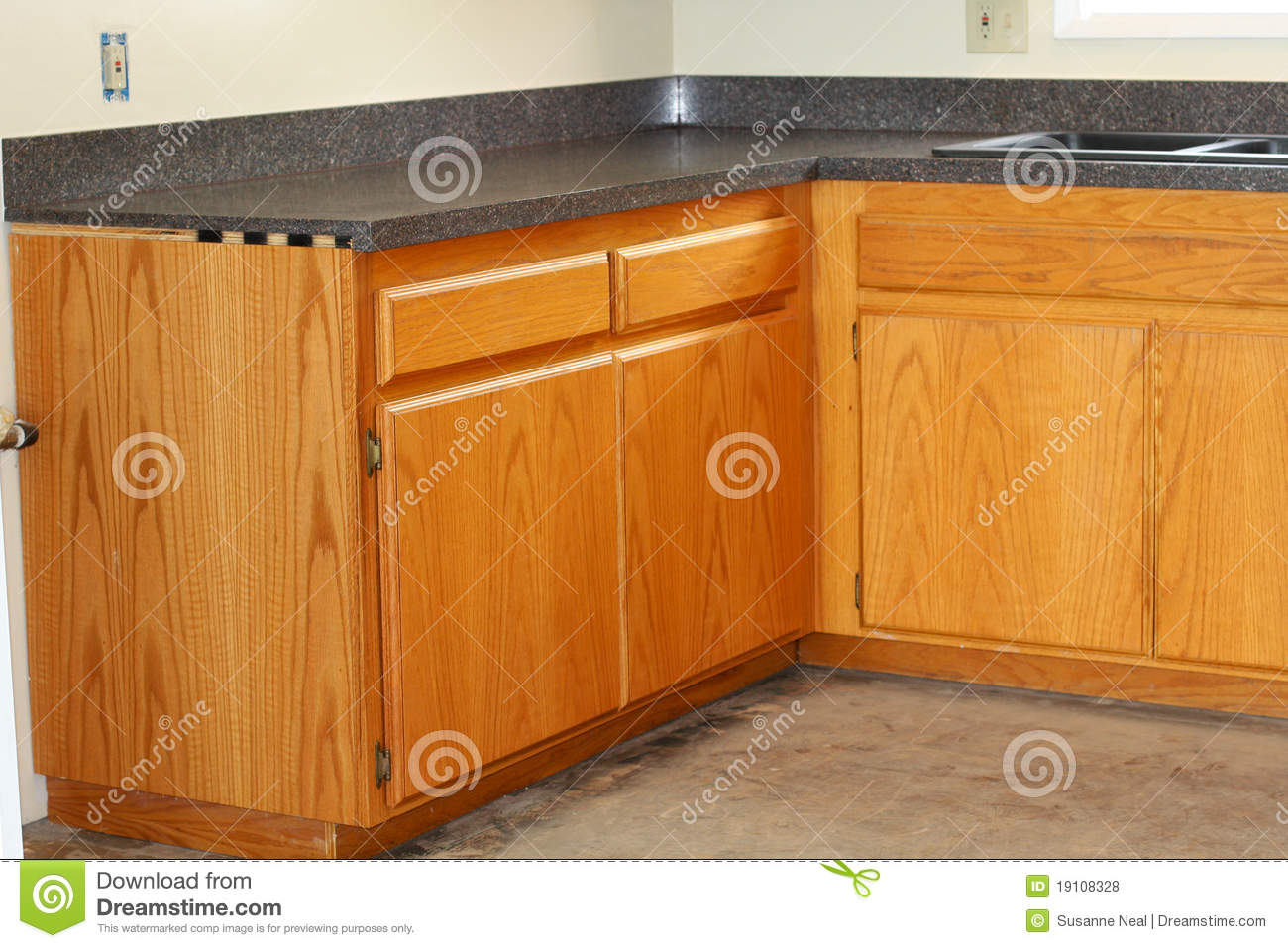 Oak Kitchen Drawers And New Countertop Royalty Free Stock Photos.