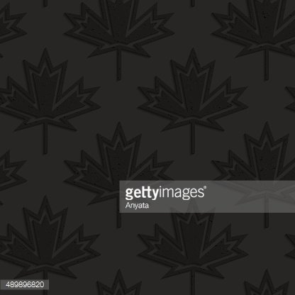 Black Textured Plastic Maple Leaves Countered With Inside.
