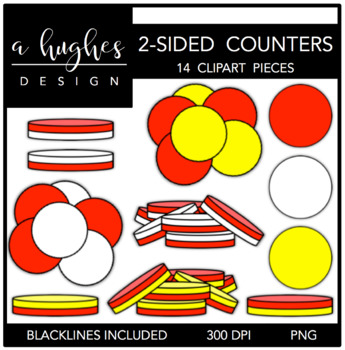2 Sided Counters Clipart {A Hughes Design}.