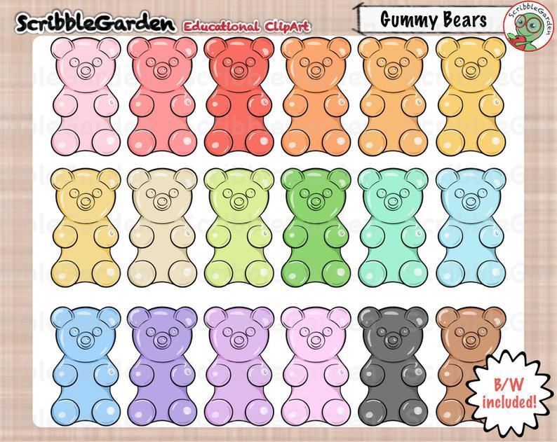 Gummy Bear Counters ClipArt.