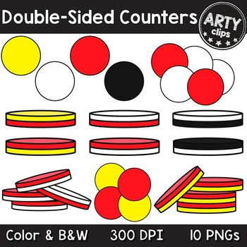 Two Color Double Sided Counters Clipart Math {Arty Clips}.