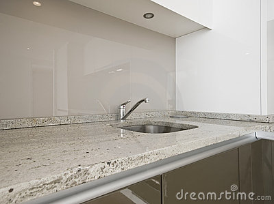 Contemporary Kitchen With Breakfast Bar Royalty Free Stock Photos.