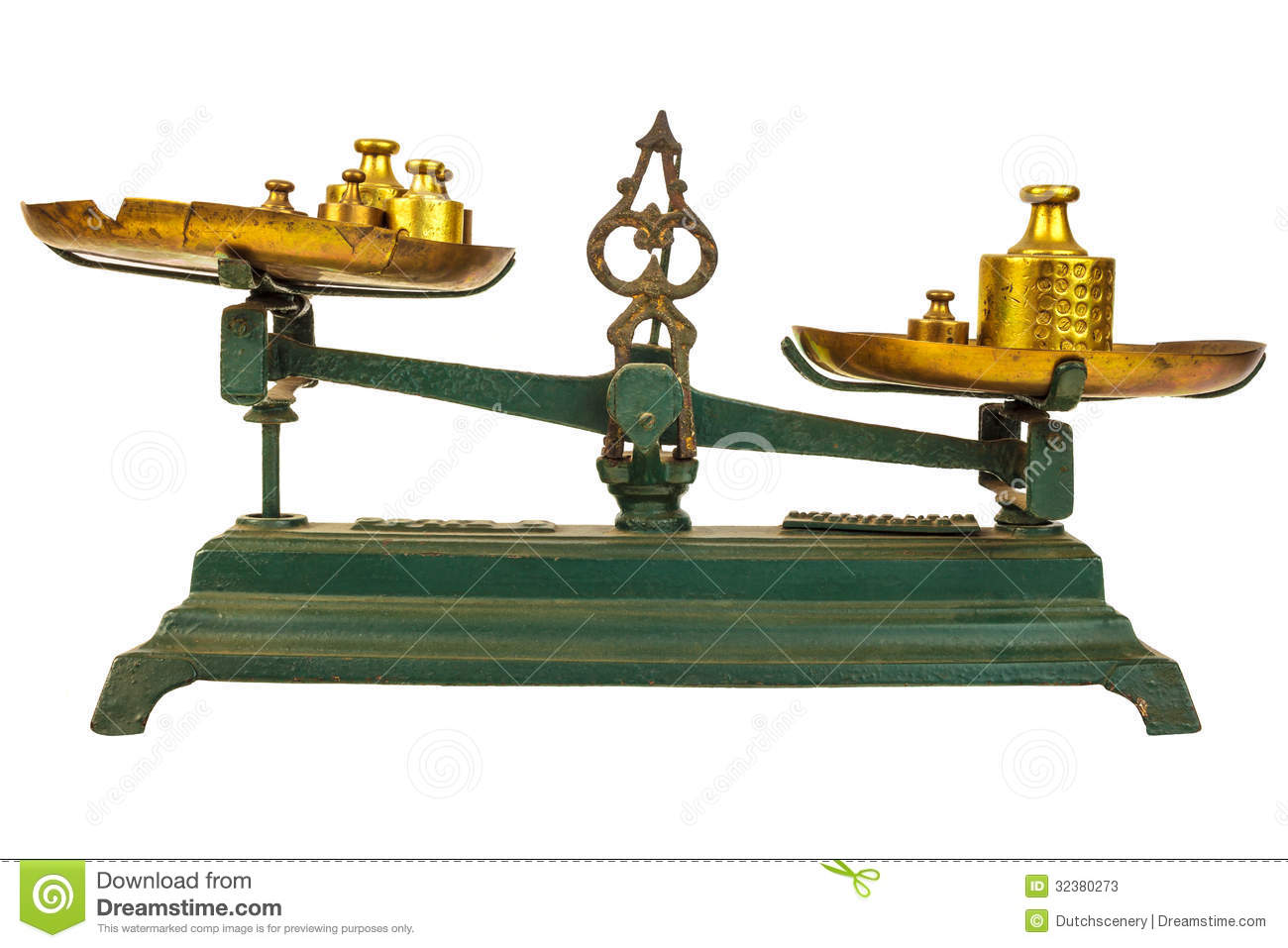 Vintage Green Weight Balance Scale Isolated On White Stock Photos.