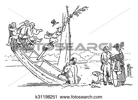 Clipart of A little too much counterweight!, vintage engraving.