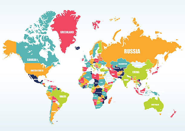 World Map With Countries Clipart.