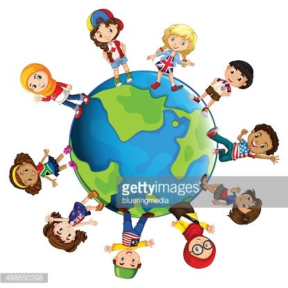 Children from different countries of the world Clipart Image.