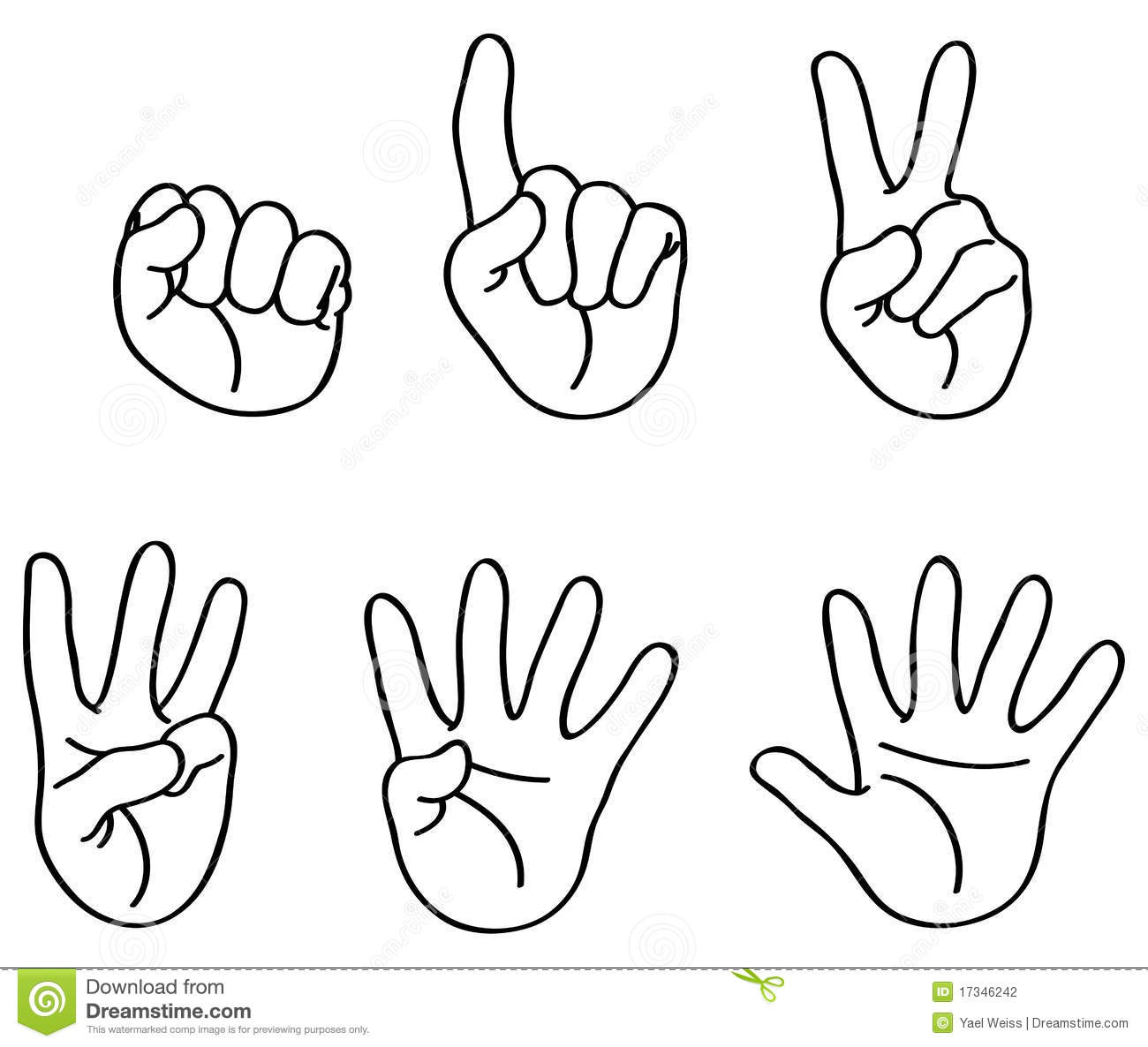 Counting Hands Clip Art.
