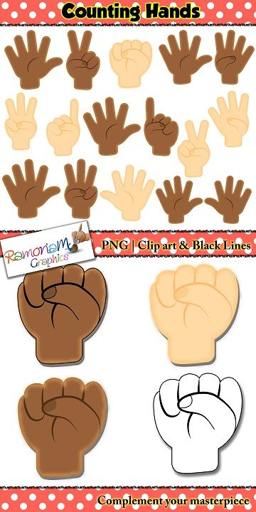 Finger Counting Hands Clip art.