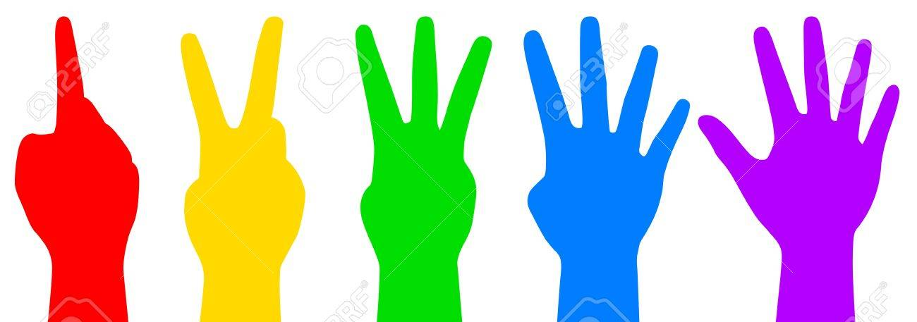 illustration of colorful counting hands.