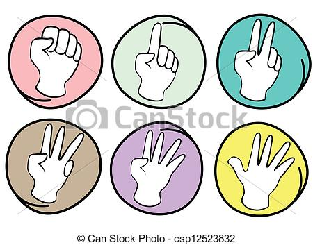 Person Counting Hands 0 to 5 on Round Background.